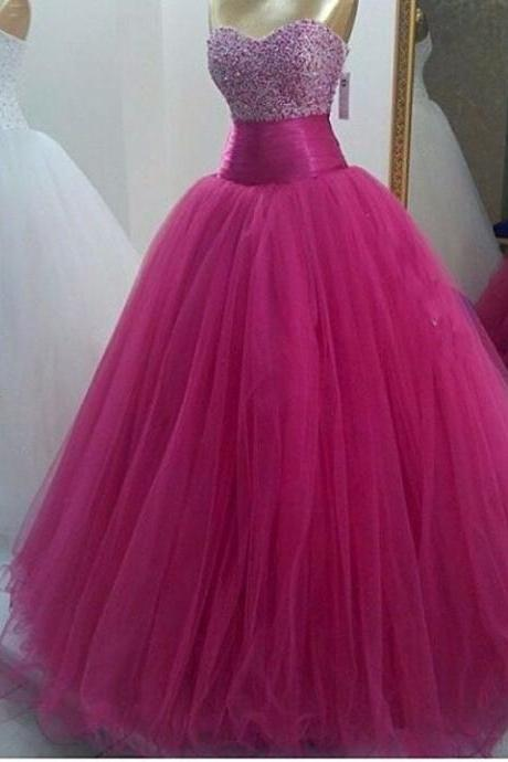 Formal Dresses Evening Wear 2017 Hot Pink Tulle Beaded Ball Gown Long Prom Dresses