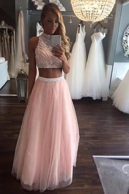 Pink 2 Piece Prom Dresses Long 2017 Vestido De Festa Beaded Girls Sparkly Graduation Party Dress High Neck Formal Evening Gowns