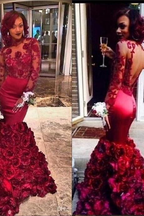 Vestido De Festa Burgundy Prom Dresses Mermaid 2017 Sexy Long Sleeve Flower Lace Sheer Imported Party Dress Evening Gowns