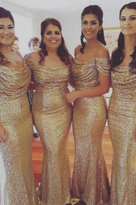 Gold Sequin Bridesmaid Dress Off The Shoulder Mermaid 2017 Long Mermaid Maid Of Honor Gowns Vestido De Festa
