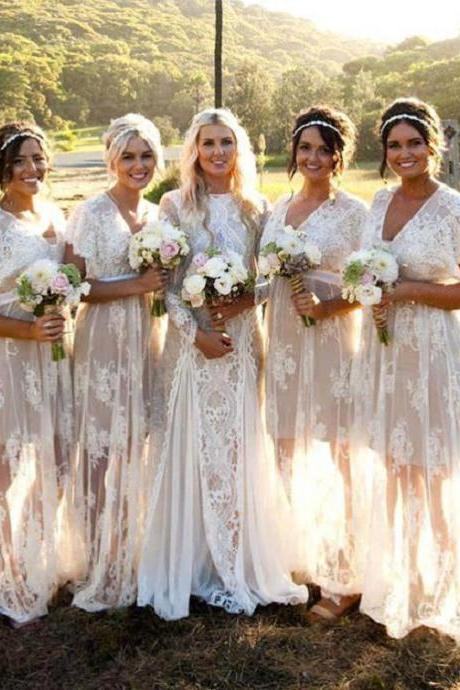 Lace Sleeves Bridesmaid Dresses V-neck 2017 Country Style Maid Of Honor Gowns