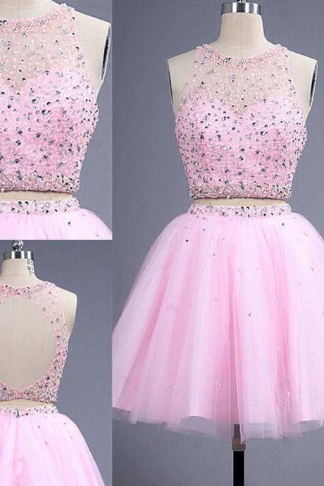 Hot Sale Pink Two Pieces Short Homecoming Dresses Elegnat Prom Party Gown Beadings Tulle Custom Made