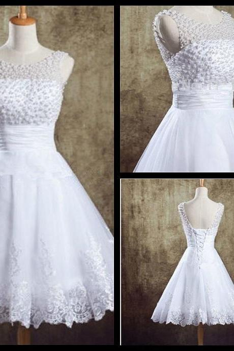 Special Occasion Dresses White Beaded Corset Homecoming Dresses Short Graduation Dresses