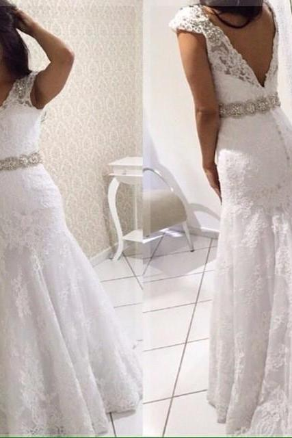 Sexy Mermaid Backless Wedding Dresses 2018 Vintage V Neck Lace Appliques Long Bridal Gown with Beaded Belt Elegant Wedding Dress