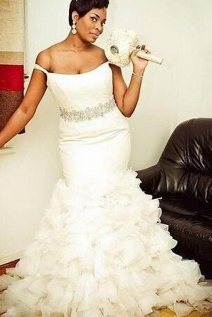 Sexy Off Shoulder Mermaid Wedding Dresses 2018 Beaded Waist Ruffles Tiered Bridal Gowns Plus Size African Wedding Vestidos