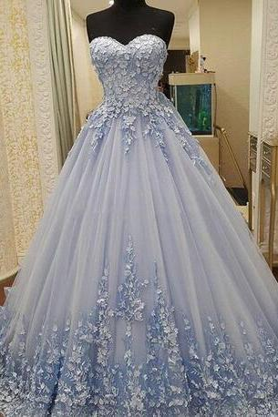 Dusty Blue Lace Up Prom Dresses 2018 Sweetheart Lace Appliques Tulle A Line Evening Gowns Sweep Train Saudi Arabia Formal Wear Vestidos