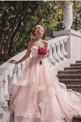 Pink A Line Evening Dresses Sweetheart Tiered Tulle Long Prom Dresses Formal Evening Party Gowns Custom Made