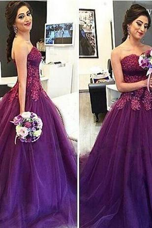 Purple Strapless Sweet Neck Tulle Wedding Dresses 2018 Fall Winter New Lace Appliques A Line Bridal Gowns Robe De Mariee Court Train
