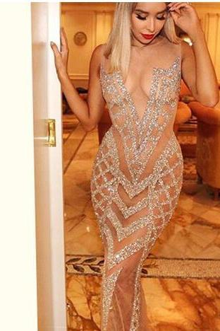 Super Hot ! Sexy Prom Dress Mermaid Evening Dress Nude Beads Backless See - Through Prom Long Trumpet Party Dress Prom Gown