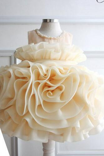 Hot Sale Flower Girl Dresses Big Flower Ruffles Sleeveless Beading Organza Cute Flower Girl Dress Free Shipping Cheap High Quality