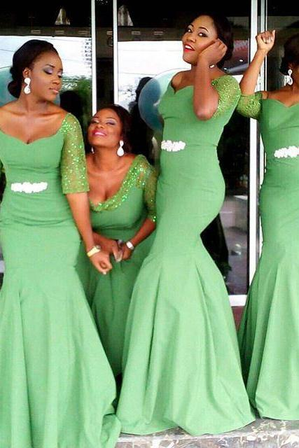 Plus Size emerald green Bridesmaid Dresses With Sequined Half Sleeves Scoop Sheath Elegant Garden Wedding Prom Dresses With Sash Appliques