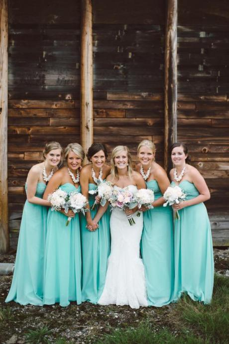 Aqua Bridesmaid Dresses Real Wedding Shots Cheap Chiffon A Line Custom Made Maid of Honor Dresses Plus Size Sweetheart Zipper Back