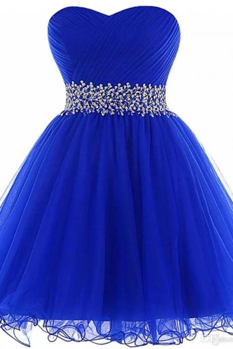 Organza Ball Gown Homecoming Dresses Royal Blue Elegant Beaded Short Prom Gowns Lace Up Party Dress