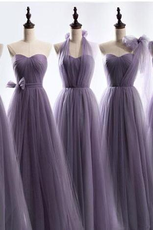 Long Tulle Bridesmaid Convertible Dresses Floor Length 2017 Wedding Bridesmaid Gowns Lace Up Back Custom Made