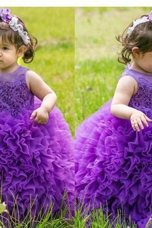 New Cute Girls Pageant Dresses Jewel Neck Purple Lace Appliques Toddlers Kids Tiered Ruffles Flower Girls Dress Princess Birthday Gowns