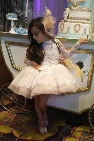 2018 Custom Made Light Pink Flower Girls Dress Lace Appliques Kids Short Pageant Gown Long Sleeve High Neck Girls Birthday Party Dresses