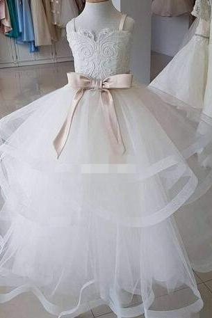 Real Image Ball Gown White Flower Girl Dresses Tutu Champagne Sash Custom Made Baby Little Child Birthday First Holy Communion Dresses