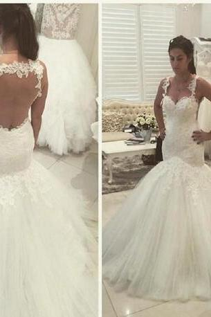 Gorgeous Vintage Wedding Dresses Spaghetti Lace Applique Beads Sheer Backless Mermaid Tulle Sexy Bridal Gowns
