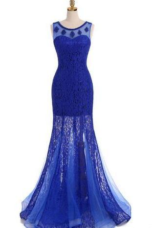 Real Dresses Evening Wear Royal Blue Boat Neck Sleeveless Mermaid Lace Pearl Beaded Formal Prom Dresses