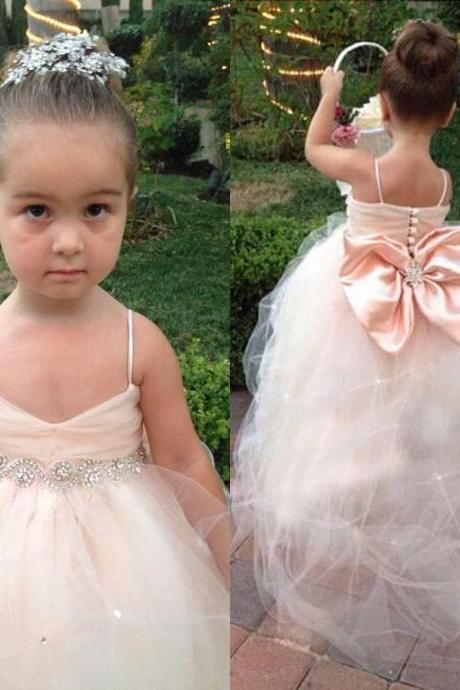 Flower Girls Dresses for Weddings Girls Special Occasion Formal Gowns Puff Soft Tulle Kids Bridesmaid Dress with Big Bow in Blush Pink