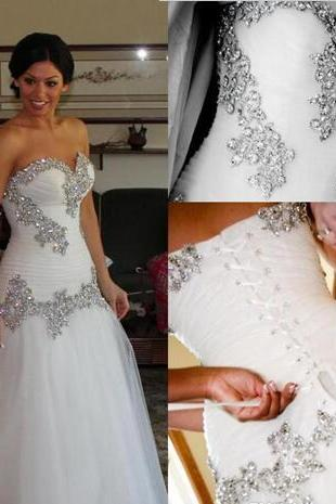 Wedding Dress Vintage A-Line Sweetheart Bling Crystals Sequins Tulle Lace Up Back Chapel Train Bridal Dresses Cheap