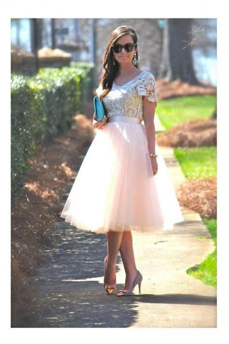 Pink High Waist Adult Prom Dress Mid Calf Length New Fashion Party Dress Cocktail Dress