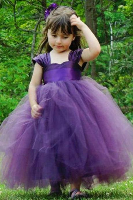 Pretty Flower Girls Dresses For Weddings Party Cap Sleeves Ruched Tulle Purple / Green Little Kids Toddler First Communion Dress