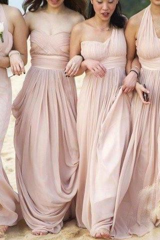 sexy Convertible style beach bridesmaid dresses junior Empire long blush pink Pleated Chiffon Beach Bridemaid Dresses