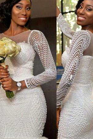 2018 New Arrival Mermaid Wedding Dresses Sheer Neck Long Sleeves Beaded Crystals Tiered Ruffles Bridal Gowns Wedding Gowns Custom Made