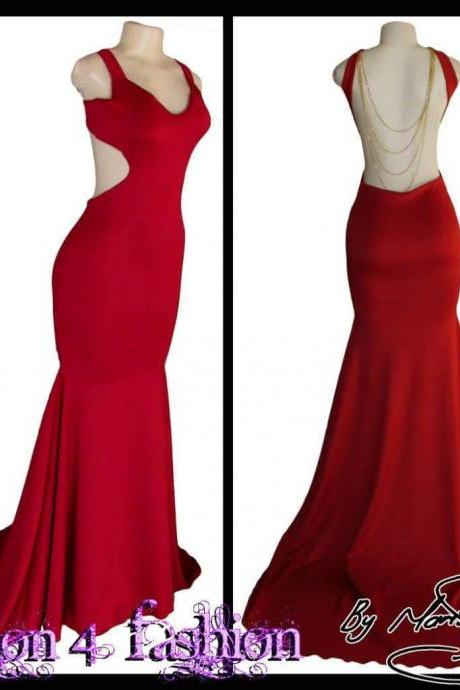 Red Mermaid Prom Dresses Scoop Sleeveless Backless Evening Dress Party Gowns Vestidos
