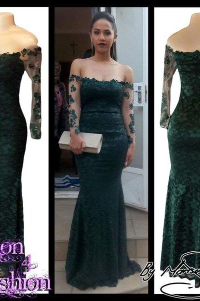 2018 Sexy Mermaid Green Prom Dresses Prom Dresses Lace Evening Dress Evening Dresses Formal Dress Party Gowns Vestidos
