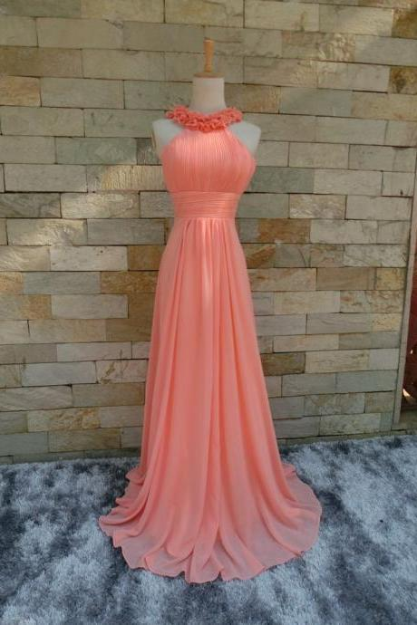 Real Picture Flower Pleat Chiffon Sexy And Cute Pink A-Line Long Evening dresses Prom dresses 2018