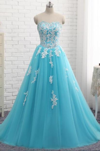 Blue Quinceanera Dresses Sweetheart Tulle With Lace A Line Vestido De 15 Anos Sweet Dress For 15 Years Vestido Debutante