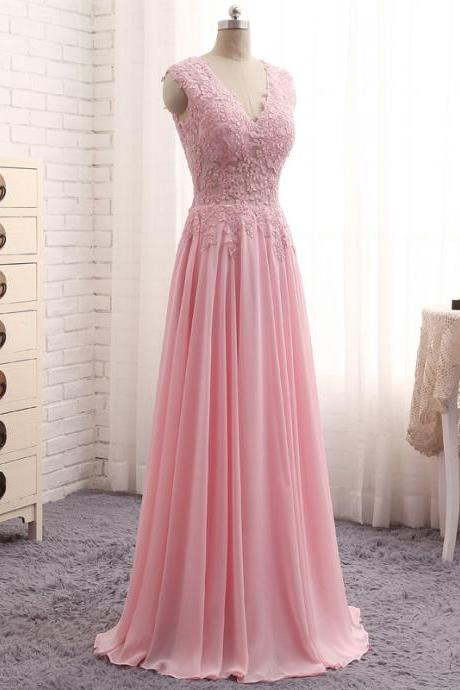 Robe De Soiree Longue Sexy Pink Chiffon Evening Gowns V Neck Sleeveless Sheer Top Appliques A Line Elegant Long Dresses Evening