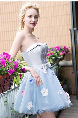 Fashion Styles Homecoming Dresses 2018 Strapless Neck Off Shoulder vestidos de noiva with Flower Cocktail Gowns ..