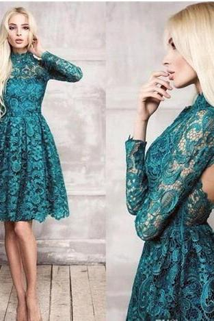 New Lace Teal Long Sleeves Short Cocktail Dresses High Neck 2018 New Backless Knee Length Sexy Party Prom Dress Homecoming Gowns