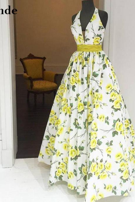 Backless Floral Printed Homecoming Dress Long Halter V Neck Pattern Taffeta Evening Gown A Line