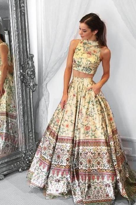 2 Pieces Floral Print Long Prom Dress 2018 Satin Pattern Pageant Evening Gown Lewande 50783 A Line Party Skirt Pockets