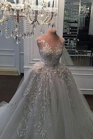 luxury beading ball gown lace 3D-Floral Appliques vintage wedding dresses bridal gown