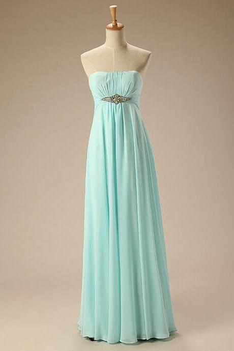 Elegant Bridesmaid Dress Strapless with Beaded Sash Chiffon Long Bridesmaid Dresses