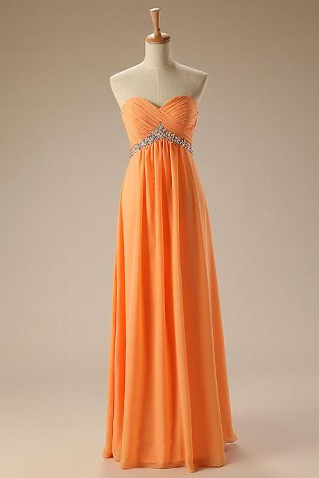 Elegant A-line Orange Bridesmaid Dress Chiffon Long Bridesmaid Dresses