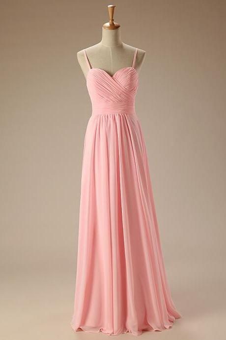 Elegant Pink Bridesmaid Dress Sweetheart with Straps Chiffon Long Bridesmaid Dresses