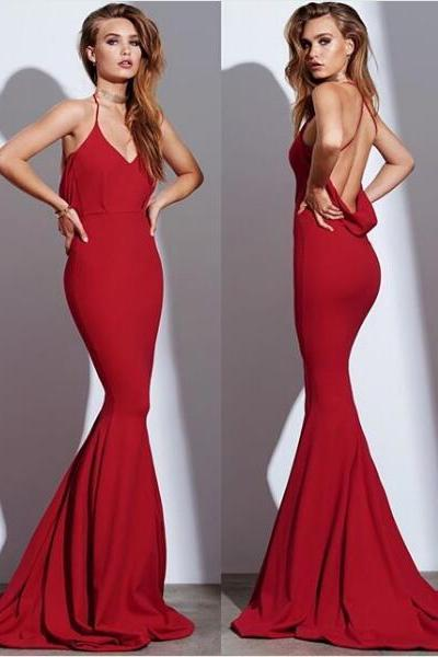 Sexy Formal Dress Evening Dress Mermaid Red Halter Backless Long Evening Dresses Prom Dress