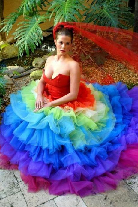 Sexy Unique Rainbow Colorful Ball Gown Gothic Wedding Dress Tulle Long Wedding Dresses Bridal Gown Wedding Gown