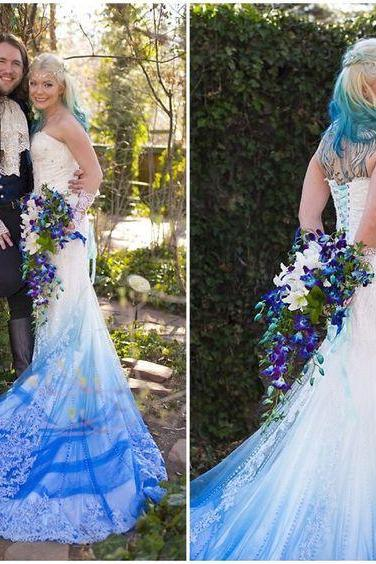 Gorgeous Unique Colorful Blue Wedding Dress Tulle Long Wedding Dresses Bridal Gown Wedding Gown