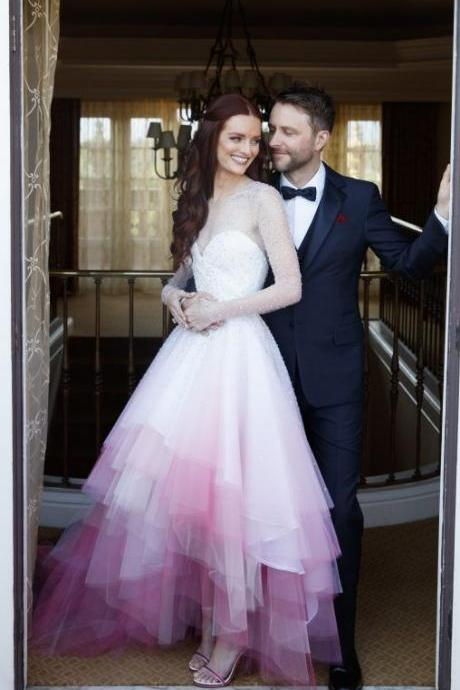 2018 A-line Colorful Pink and White Wedding Dress Sheer Lace Up Tulle Long Wedding Dresses Bridal Gown Wedding Gown