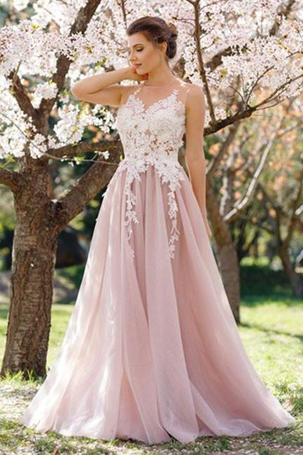 Cheap prom dresses 2017,Charming A-Line Round Neck Sleeveless Pink Tulle Long Prom Dress with Apliques, Modest Prom Dress, Elegant Prom Evening Dress, Prom Dresses 2017