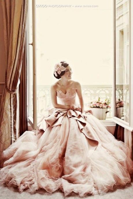 Sexy Unique Light Pink Fairy Wedding Dress A-line Sweetheart Tulle Long Wedding Dresses Bridal Gown Wedding Gown