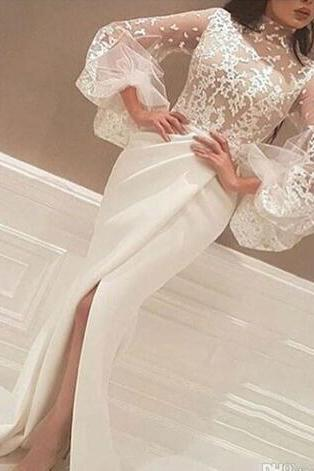 Sheer High Slits Arabic Evening Dresses 2018 Mermaid High Neck 3/4 Long Sleeves Lace Body Pleated Skirt Formal Party Gowns