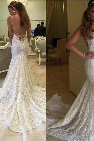 Backless Bridal Gowns Mermaid Full Lace Wedding Dresses Sweetheart Neck Sleeveless Long Court Train Vintage Lace Gowns